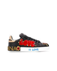 schwarze verzierte Pailletten niedrige Sneakers von Dolce & Gabbana