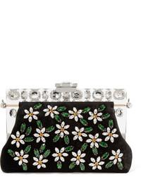 schwarze verzierte Samt Clutch von Dolce & Gabbana