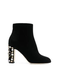 schwarze verzierte Samt Stiefeletten von Dolce & Gabbana