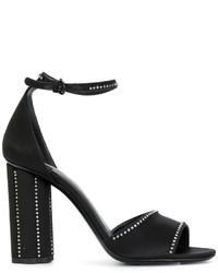 schwarze verzierte Sandalen von Salvatore Ferragamo