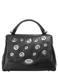 schwarze verzierte Satchel-Tasche aus Leder von CLUTY