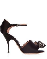 schwarze verzierte Satin Sandaletten