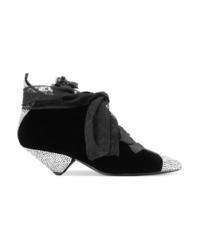 schwarze verzierte Schnürstiefeletten aus Samt von Saint Laurent