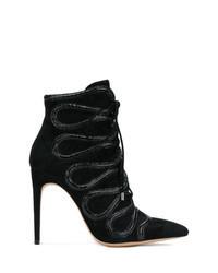 schwarze verzierte Schnürstiefeletten aus Wildleder