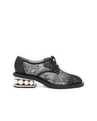 schwarze verzierte Segeltuch Oxford Schuhe von Nicholas Kirkwood