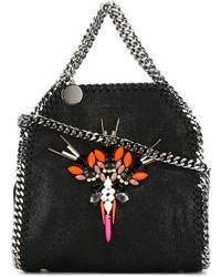 schwarze verzierte Shopper Tasche aus Leder