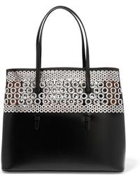 schwarze verzierte Shopper Tasche aus Leder von Alaia