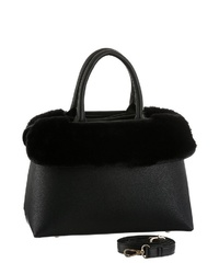 schwarze verzierte Shopper Tasche aus Leder von Buffalo