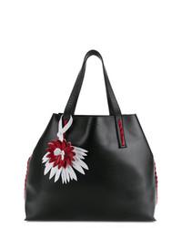 schwarze verzierte Shopper Tasche aus Leder von P.A.R.O.S.H.
