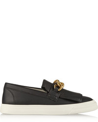 schwarze verzierte Slip-On Sneakers aus Leder
