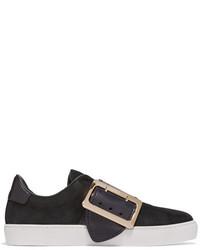 schwarze verzierte Slip-On Sneakers aus Leder von Burberry