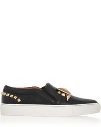 schwarze verzierte Slip-On Sneakers aus Leder von Givenchy