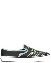 schwarze verzierte Slip-On Sneakers aus Leder von RED Valentino