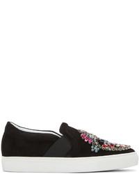 schwarze verzierte Slip-On Sneakers aus Wildleder von Lanvin