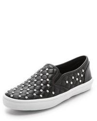 schwarze verzierte Slip-On Sneakers