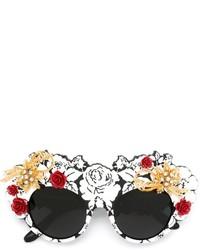 schwarze verzierte Sonnenbrille von Dolce & Gabbana