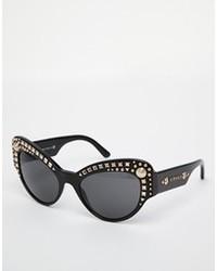 schwarze verzierte Sonnenbrille von Versace