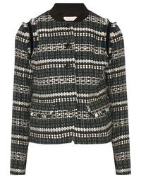 schwarze verzierte Tweed-Jacke von Tory Burch