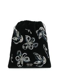 schwarze verzierte Wildleder Clutch von Prada
