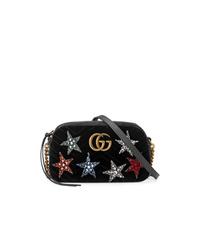 schwarze verzierte Wildleder Umhängetasche von Gucci
