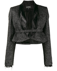 schwarze verzierte Wolljacke von Ann Demeulemeester
