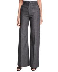 schwarze weite Hose aus Jeans