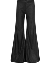 schwarze weite Hose aus Leder