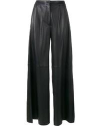 schwarze weite Hose aus Leder von ADAM by Adam Lippes