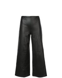 schwarze weite Hose aus Leder von Adam Lippes
