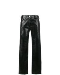 schwarze weite Hose aus Leder von Calvin Klein 205W39nyc