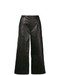 schwarze weite Hose aus Leder von Chalayan