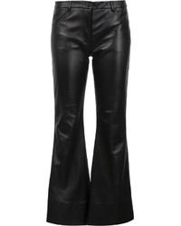 schwarze weite Hose aus Leder von Natasha Zinko