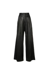 schwarze weite Hose aus Leder von Nili Lotan