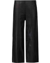 schwarze weite Hose aus Leder von Vince