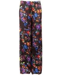 schwarze weite Hose mit Blumenmuster