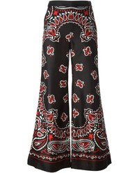 schwarze weite Hose mit Paisley-Muster von Moschino