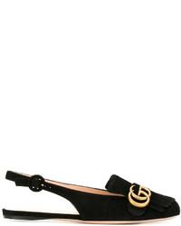 schwarze Wildleder Ballerinas von Gucci