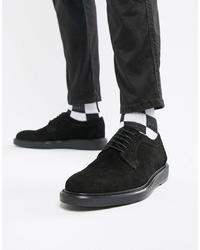 schwarze Wildleder Derby Schuhe von Dead Vintage
