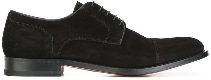 schwarze Wildleder Derby Schuhe von Santoni