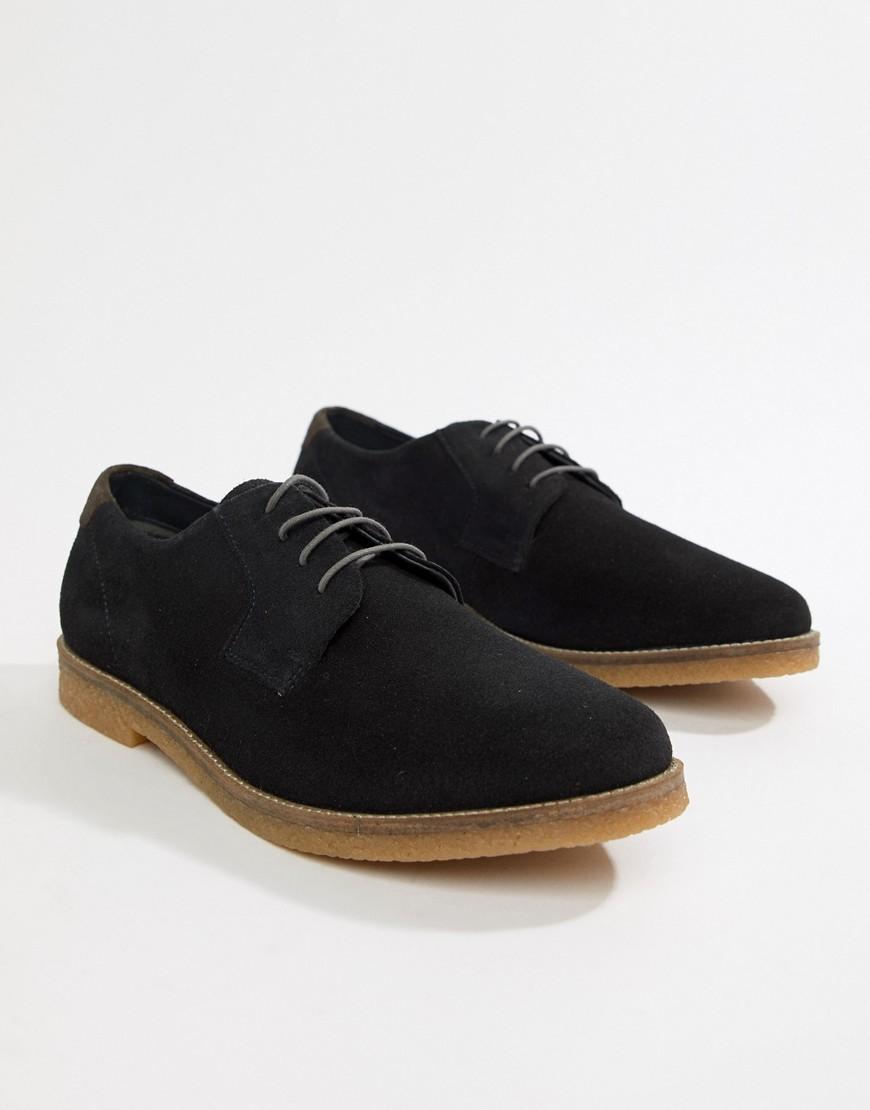 schwarze Wildleder Derby Schuhe von Silver Street