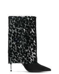 schwarze Wildleder mittelalte Stiefel von Balmain