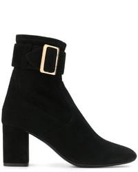 schwarze Wildleder mittelalte Stiefel von Burberry