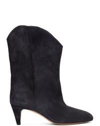 schwarze Wildleder mittelalte Stiefel von Isabel Marant