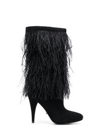 schwarze Wildleder mittelalte Stiefel von MICHAEL Michael Kors