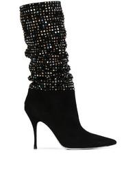 schwarze Wildleder mittelalte Stiefel von Rene Caovilla