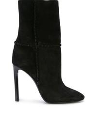 schwarze Wildleder mittelalte Stiefel von Saint Laurent