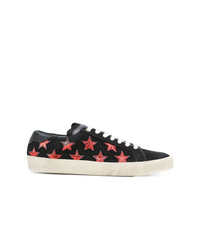 schwarze Wildleder niedrige Sneakers mit Sternenmuster von Saint Laurent
