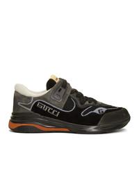 schwarze Wildleder niedrige Sneakers von Gucci