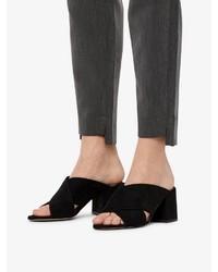 schwarze Wildleder Pantoletten von Bianco