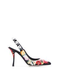 schwarze Wildleder Pumps mit Blumenmuster von Dolce & Gabbana